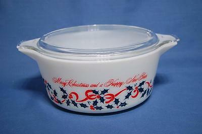 RARE PYREX MERRY CHRISTMAS AND HAPPY NEW YEAR 2 1/2 QUART 475-B CASSEROLE  & LID