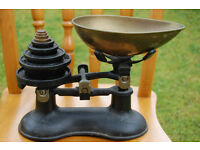 Traditional brass kitchen weighing scale with weights