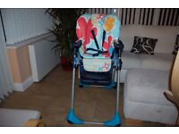 Chicco high chair, excellent condition, reclining back rest, very good price, no offers