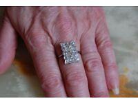Platinum and Diamond 1.8ct cluster head ring 1910c.