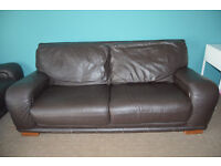 DFS 2 & 3 Seater Brown Leather Sofa Suite