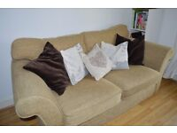 Beige sofa/sofa-bed and armchair suite
