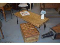 Handmade Rustic Coffee Table on hairpin legs