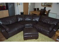 6 Seater Brown Leather Curved Corner Sofa + Footstool with Storage