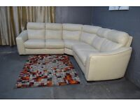 EX DISPLAY (F-VILLAGE) Cressida Lage 3 Piece Corner In Real Leather Cream Colour