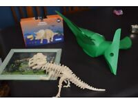 Dinosaur pendant light shade, framed picture and wooden toys