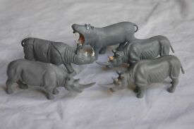 Vintage Britains Zoo animals, Rhino and Hippo