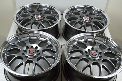 "4 New DDR R1 16x7 5x100/114.3 35mm Gunmetal/Polished Lip 16"" Wheels Rims"