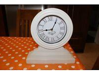 Cream wood antique effect mantelpiece clock