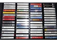 60 AUDIO CASSETTE TAPES, VARIOUS ARTISTS, IN STRONG COMPARTMENTALISED REXINE COVERED WOODEN CASE.