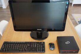 "Fujitsu Esprimo Q510 USFF Mini Desktop PC + Logitech MK270 Wireless Combo + Philips 23"" LED Monitor"