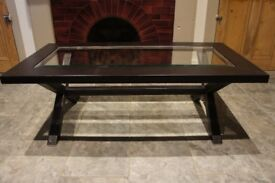 Brown leather and glass coffee table