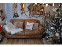 Chesterfield Vintage Leather 3 Seater Sofa Tan Brown