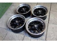 "15"" Equip Style Alloy wheels 4x100 Mx5 Eunos Civic Starlet Golf Polo Scirocco Jdm Black Alloys"