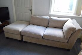 Cream fabric 2 seater sofa + footstool, great condition