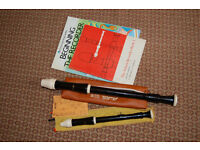 Aulos recorders - 1 descant and 1 alto with cases