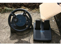 PC gaming steering wheel and pedals, gameport, vintage