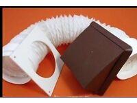"""Cooker Hood / Tumble Dryer Hose & Cowl Kit 6"""" 150mm x 1m Terracotta"""