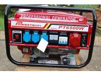 Petrol Generator - 6.5kW Powertech Model No. PT6500w (new and unused)