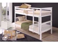 Brand New White Chunky Pine Wooden Bunk Bed-Single 3FT Wooden Frame White Wood With Mattress