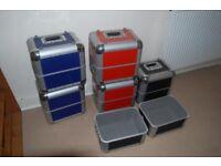 """6No. 12"""" Vinyl flight / storage cases - aluminium - padded interior - !! NO VINYL INCLUDED !!"""
