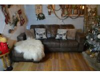 Distressed Leather Corner Sofa Couch Dark Brown
