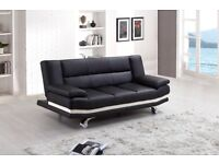 SALE BLACK LEATHER SOFA BED ONLY £199