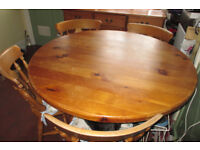4ft / 1.2m diameter round solid pine dining kitchen table with 4 chairs
