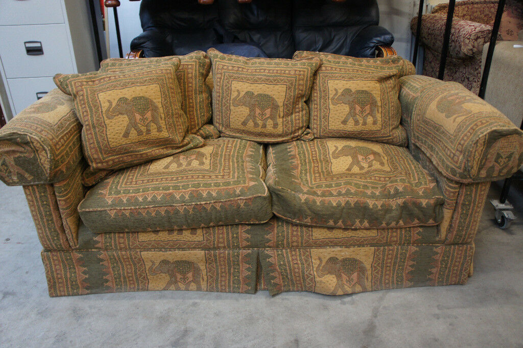 Duck feathered two seater fabric sofa