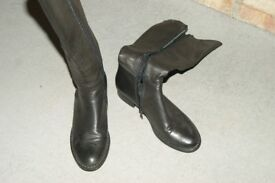 Ladies BEBO leather look knee high boots black size 4