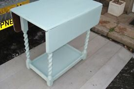 drop leaf dark oak dining table up cycled in duck egg blue chalk paint & waxed