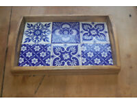 Blue and White tiled inset wood small tray