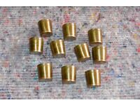 new old stock steel tipped brass walking-stick ferrules. various sizes and quantities