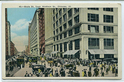 State Street From Madison Chicago Illinois 1920S Postcard