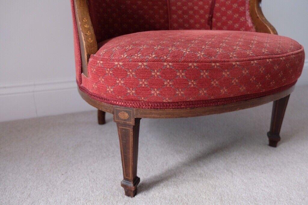 Phenomenal Edwardian Inlaid Upholstered Tub Chair In Wimborne Dorset Gumtree Creativecarmelina Interior Chair Design Creativecarmelinacom