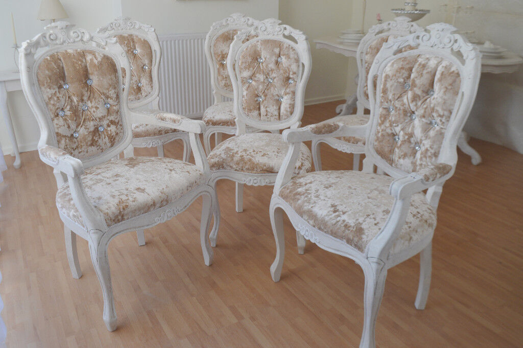 UNIQUE Glamour French Shabby Chic Dining Table With Six Chairs