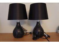2 black crackle based lamps