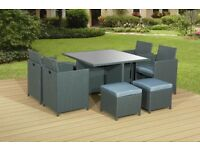 BRAND NEW 9Pc GREY THICK PU RATTAN CUBE SET GARDEN FURNITURE SET CHAIRS SOFA TABLE OUTDOOR PATIO