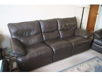 FREE - LARGE THREE SEATER SETTEE - 223cm LONG - BROWN LEATHER RECLINER - FREE