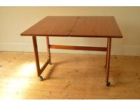 vintage mid century teak McIntosh Triform coffee table on castors extending danish design card table