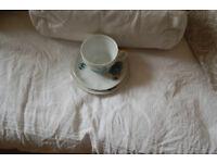 Vintage blue flower tea set 6 cups , saucers and plates