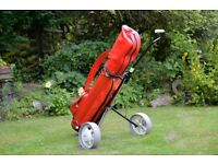 COMPLETE WILSON GOLF CLUB SET, 13 Clubs comprising 9 Irons, 3 Woods & Putter, Bag, Trolley & Extras