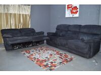 EX DISPLAY (F-Village) Black Cupola Fabric 3+2 ELECTRIC RECLINER SOFA SET
