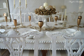!!! WOW !!! CHRISTMAS DEAL !!! *** CHRISTMAS SALE *** Shabby Chic Antique Dining Table and 10 Chairs