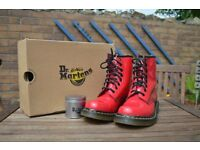 Red Dr Martens Size 5 Womens 1460 AirWair and WonderBalm