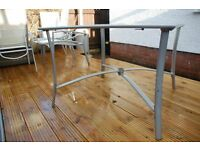 Square Metal and Glass Patio Table