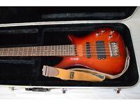 Shine 5 String Bass Guitar w/ Gator Case + Wrangler Strap