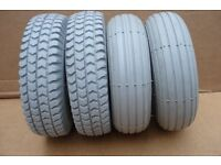 4 x new mobility scooter tyres - Tyre size is 300 x 4 (265 x 85)