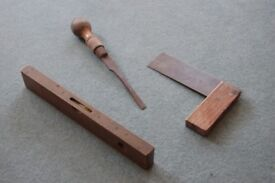 vintage wooden and brass tools