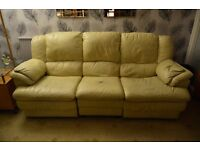 Leather Three Seat Sofa and Chair in Cream